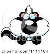 Clipart Cute Baby Skunk Hanging Over A Sign Royalty Free Vector Illustration