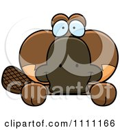 Clipart Cute Happy Platypus Hanging Over A Sign Royalty Free Vector Illustration
