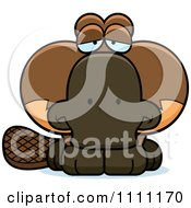 Clipart Cute Depressed Platypus Royalty Free Vector Illustration by Cory Thoman