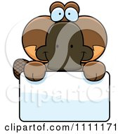 Clipart Cute Happy Platypus Over A Sign Royalty Free Vector Illustration by Cory Thoman