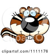 Clipart Cute Chipmunk Peeking Over A Sign Royalty Free Vector Illustration by Cory Thoman