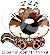 Clipart Cute Sleeping Chipmunk Royalty Free Vector Illustration