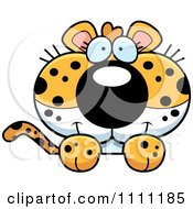 Clipart Cute Leopard Cub Hanging Over A Sign Royalty Free Vector Illustration