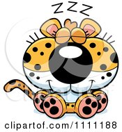Clipart Cute Sleeping Leopard Cub Royalty Free Vector Illustration