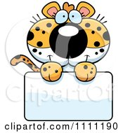 Clipart Cute Leopard Cub Over A Sign Royalty Free Vector Illustration