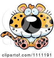 Clipart Cute Sitting Leopard Cub Royalty Free Vector Illustration