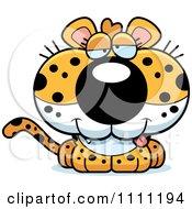 Clipart Cute Drunk Leopard Cub Royalty Free Vector Illustration
