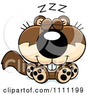 Clipart Cute Sleeping Baby Squirrel Royalty Free Vector Illustration