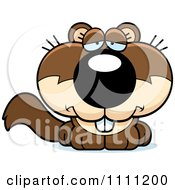 Clipart Cute Depressed Baby Squirrel Royalty Free Vector Illustration