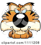 Clipart Cute Angry Bobcat Cub Royalty Free Vector Illustration