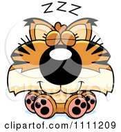 Clipart Cute Sleeping Bobcat Cub Royalty Free Vector Illustration by Cory Thoman