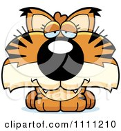 Clipart Cute Depressed Bobcat Cub Royalty Free Vector Illustration