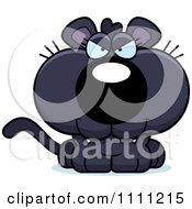 Clipart Cute Sly Panther Cub Royalty Free Vector Illustration