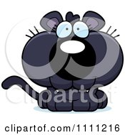 Clipart Cute Happy Panther Cub Royalty Free Vector Illustration