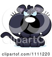 Clipart Cute Angry Panther Cub Royalty Free Vector Illustration