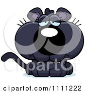Clipart Cute Depressed Panther Cub Royalty Free Vector Illustration