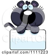 Clipart Cute Panther Cub Over A Sign Royalty Free Vector Illustration