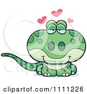 Clipart Cute Amorous Gecko Lizard Royalty Free Vector Illustration