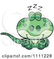 Clipart Cute Sleeping Gecko Lizard Royalty Free Vector Illustration