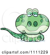 Clipart Cute Depressed Gecko Lizard Royalty Free Vector Illustration by Cory Thoman
