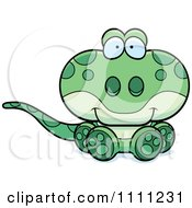 Clipart Cute Sitting Gecko Lizard Royalty Free Vector Illustration