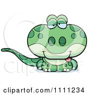 Clipart Cute Drunk Gecko Lizard Royalty Free Vector Illustration by Cory Thoman