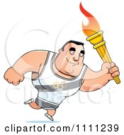 Clipart Buff Olympic Athlete Man Running With A Torch Royalty Free Vector Illustration