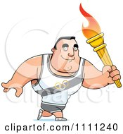 Clipart Buff Olympic Athlete Man Walking With A Torch Royalty Free Vector Illustration by Cory Thoman