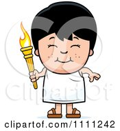 Happy Boy Holding An Olympic Torch