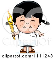 Happy Girl Holding An Olympic Torch