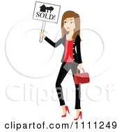Clipart Stylish Brunette Real Estate Agent Holding A Sold Sign Royalty Free Vector Illustration