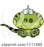 Clipart Cute Sitting Iguana Lizard Royalty Free Vector Illustration by Cory Thoman
