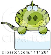 Clipart Cute Iguana Lizard Over A Sign Royalty Free Vector Illustration by Cory Thoman