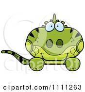 Clipart Cute Iguana Lizard Hanging Over A Sign Royalty Free Vector Illustration by Cory Thoman