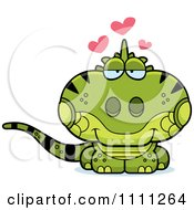 Clipart Cute Amorous Iguana Lizard Royalty Free Vector Illustration by Cory Thoman