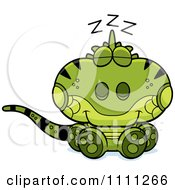 Clipart Cute Sleeping Iguana Lizard Royalty Free Vector Illustration by Cory Thoman
