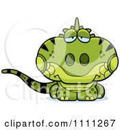 Clipart Cute Depressed Iguana Lizard Royalty Free Vector Illustration by Cory Thoman