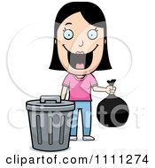 Clipart Happy Woman Taking Out The Trash Royalty Free Vector Illustration