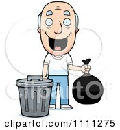 Clipart Happy Grandpa Taking Out The Trash Royalty Free Vector Illustration