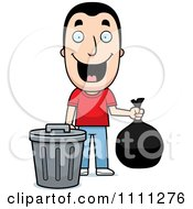 Clipart Happy Man Taking Out The Trash Royalty Free Vector Illustration