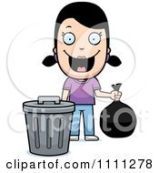 Clipart Happy Girl Taking Out The Trash Royalty Free Vector Illustration