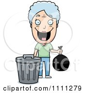 Clipart Happy Granny Taking Out The Trash Royalty Free Vector Illustration
