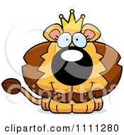 Clipart Cute Happy King Lion Cub Royalty Free Vector Illustration