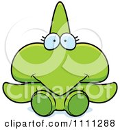 Clipart Cute Sitting Pterodactyl Dinosaur Royalty Free Vector Illustration by Cory Thoman