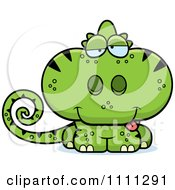Clipart Drunk Cute Green Chameleon Lizard Royalty Free Vector Illustration by Cory Thoman