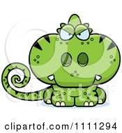 Clipart Angry Cute Green Chameleon Lizard Royalty Free Vector Illustration by Cory Thoman