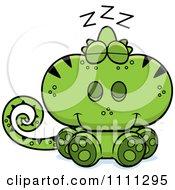 Clipart Cute Sleeping Green Chameleon Lizard Royalty Free Vector Illustration