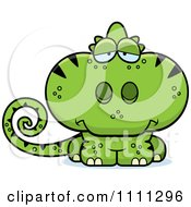 Clipart Cute Depressed Green Chameleon Lizard Royalty Free Vector Illustration by Cory Thoman