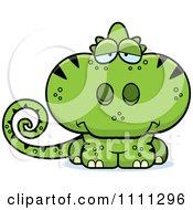 Clipart Cute Depressed Green Chameleon Lizard Royalty Free Vector Illustration