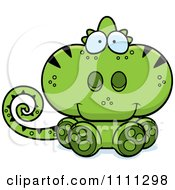 Clipart Cute Sitting Green Chameleon Lizard Royalty Free Vector Illustration by Cory Thoman